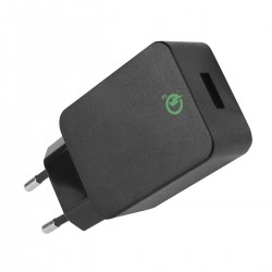 Caricatore USB 3A Quick Charge 3.0 Spina Europea 2pin Nero