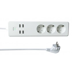 Multipresa Intelligente 3 Prese Schuko 4 USB Controllo Vocale, R4028